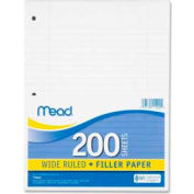 """Mead® Filler Paper, 8"""" x 10-1/2"""", Wide Ruled, 3-Hole Punched, White, 200 Sheets/Pack"""