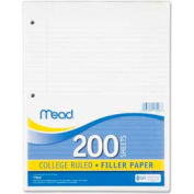 """Mead® Filler Paper, 8-1/2"""" x 11"""", College Ruled, 3-Hole Punched, White, 200 Sheets/Pack"""