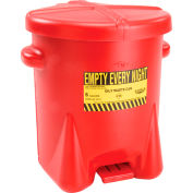 Eagle 6 Gallon Poly Waste Can W/ Foot Lever, Red - 933-FL