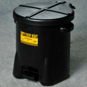 Eagle 6 Gallon Poly Waste Can W/ Foot Lever, Black - 933-FLBK