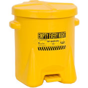 Eagle 6 Gallon Poly Waste Can W/ Foot Lever, Yellow - 933-FLY