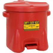 Eagle 10 Gallon Poly Waste Can W/ Foot Lever, Red - 935-FL