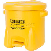 Eagle 10 Gallon Poly Waste Can W/ Foot Lever, Yellow - 935FLY