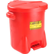 Eagle 14 Gallon Poly Waste Can W/ Foot Lever, Red - 937-FL