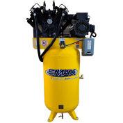 EMAX ES07V080V1, 7.5HP, Two-Stage Compressor, 80 Gallon, Vertical, 175 PSI, 29 CFM, 1-Phase 208-230V