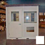 """Ebtech Pre-Assembled Security Builidng W/Swing Door, 8'W X 8'D, 24"""" Overhang Roof, 4 Wall, White"""