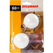 Osram Sylvania, 13664, Decorative Light Bulb, Globe G16.5, 2 Bulbs/Pack, Soft White, 60 Watt