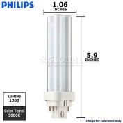 Philips, 383174, Fluorescent Light Bulb, 18 Watt, 91 Volts, Double Tube 2-PIN, Warm White