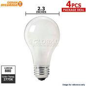 Osram Sylvania, 50045, Halogen Light Bulb, A19, 53 Watt, 120 Volts, Soft White, 4 Pack