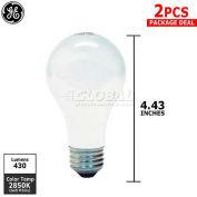 GE, 63002, Halogen Light Bulb, A19, E26 Medium Screw, 2 Pack, Soft White, 29 Watt