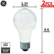GE 63004 Halogen Bulbs, A19, 53 Watt