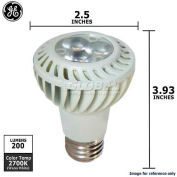 GE, 75355, Narrow Flood Lamp, PAR20, Warm White, White, 7 Watt