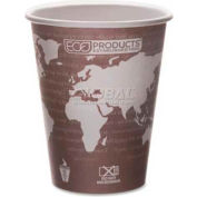 Eco Products Hot Paper  Cups, World Art, 8 Oz., Plant-Based Resin Inner Lining, 50/Pack, Maroon