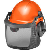 Elvex® ProGuard System W/6 Pt. Pin-Lock Tectra Safety Cap, Earmuffs, Nylon Screen in Dielectric