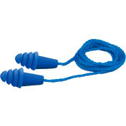 Elvex® Quattro™ Reusable Earplugs, NRR 27, Corded, Blue, 100 Pairs/Box