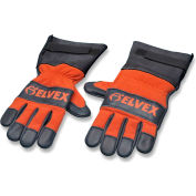 Elvex® ProGloves™ Chain Saw Cowhide Leather Palm Gloves, Blue/Orange, Large