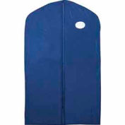 "24"" X 40"", 3 Gauge Vinyl Taffeta W/Window & Zipper - Blue W/Blue Trim - Pkg Qty 100"