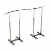 Single Bar Merchandiser with C-shaped Hangrail - Satin Chrome