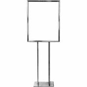 "22"" x 28"" Bulletin Sign Holder w/ Flat Base - Chrome"