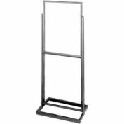 "22"" x 28"" Double Bulletin Sign Holder w/ Rectangular Tubing Base - Matte Black"