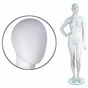 Fem. Mannequin - Oval Head, Right Hand On Hip, Left Leg Bent - Cameo White