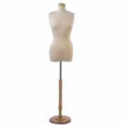 """Female 3/4"""" Torso Form Tailor Bust , Neckblock & Base Included - Natural"""
