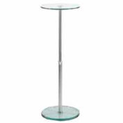 """32""""H to 48""""H Adjustable Round Glass Pedestal - Clear"""