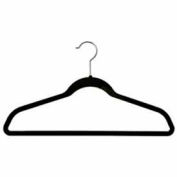 "17"" L Suit Hanger With Bar - Flocked Velvet Black - Pkg Qty 100"