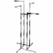 4-Way w/ Straight Arms (K13) Garment Rack- Square Tubing - Chrome