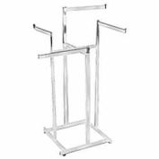 4-Way Hi-Capacity w/ Straight Arms (K80) Garment Rack - Rectangular Tubing - Chrome
