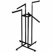 4-Way w/ 2 Straight and 2 Slant Arms (K86/MAB) Garment Rack - Rectangular Tubing - Matte Black