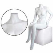 Female Mannequin - Headless, Seated, Right Hand Knee, Left-Hip - Cameo White