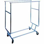 Collapsible Garment Rack (RCS/3) w/ Double Round Tubing Hangrail - Chrome