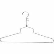 "16"" L Steel Blouse And Dress Hanger W/ Loop Hook - Chrome - Pkg Qty 100"