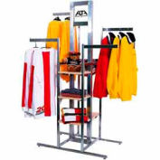 "44""L x 24""W x 72""H Cross Merchandising 4-Way Rack - Satin Chrome"