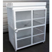 """12 Capacity, 20 Lbs. Cylinders, Heavy Duty Steel Gas Cylinder Cage, 44""""W x 30""""D x 53""""H, White"""