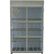"""12 Capacity, 33 Lbs. Cylinders, High Security Steel Gas Cylinder Cage, 44""""W x 30""""D x 68""""H, White"""