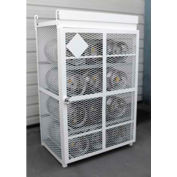 """12 Capacity, 33 Lbs. Cylinders, Heavy Duty Steel Gas Cylinder Cage, 44""""W x 30""""D x 70""""H, White"""