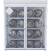 """16 Capacity, 33 Lbs. Cylinders, Heavy Duty Steel Gas Cylinder Cage, 60""""W x 60""""D x 68""""H, White"""