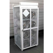 """8 Capacity, 33 Lbs. Cylinders, Heavy Duty Steel Gas Cylinder Cage, 30""""W x 30""""D x 70""""H, White"""