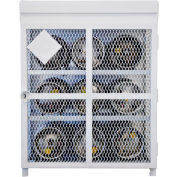 """9 Capacity, 33 Lbs. Cylinders, Heavy Duty Steel Gas Cylinder Cage, 44""""W x 30""""D x 53""""H, White"""