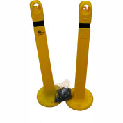 Sentry® Portable Bollard GP48-Y-KIT, With Cap & 17' Chain, Yellow, 2/PKG