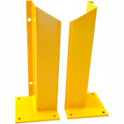 "Overhead Door Track Guard, 10"" x 10"" Base, 48""H, Yellow Powder Coat, Set of 2"