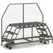 "EGA Steel Dual Access Mobile Platform 3-Step, 36"" Wide Grip Strut, Gray, 800 lb. Cap. - D017"