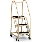 EGA Office Ladder 3-Step Rubber Surface, Almond 450Lb. Capacity - F005