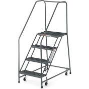 "EGA Steel EZY-Climb Ladder w/ Handrails 4-Step, 24"" Wide Perforated, Gray, 450 lb. Cap. - R024"