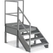 "EGA Steel Platform w/ Stairway 4-Step, 28"" H, 36"" Wide Grip Strut, Gray, 500 lb. Cap. - SPL28-RSX"