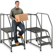 "EGA Steel Mobile Work Platform 3-Step, No Handrail, 24"" W Perforated, Gray, 800 lb. Cap. - W003"