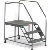 EGA Mobile Work Platform 3-Step Grip Strut, No Handrails, Gray 800Lb. Capacity - W033