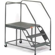 EGA Mobile Work Platform 3-Step Grip Strut, Gray 800Lb. Capacity - W033